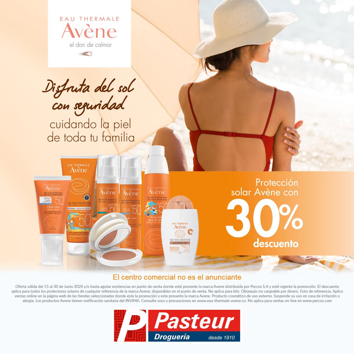 ¡Cuida a los que más quieres! Encuentra en tu farmacia Pasteur 30% de descuento en protección solar Avéne hasta el 30 de junio de 2020.