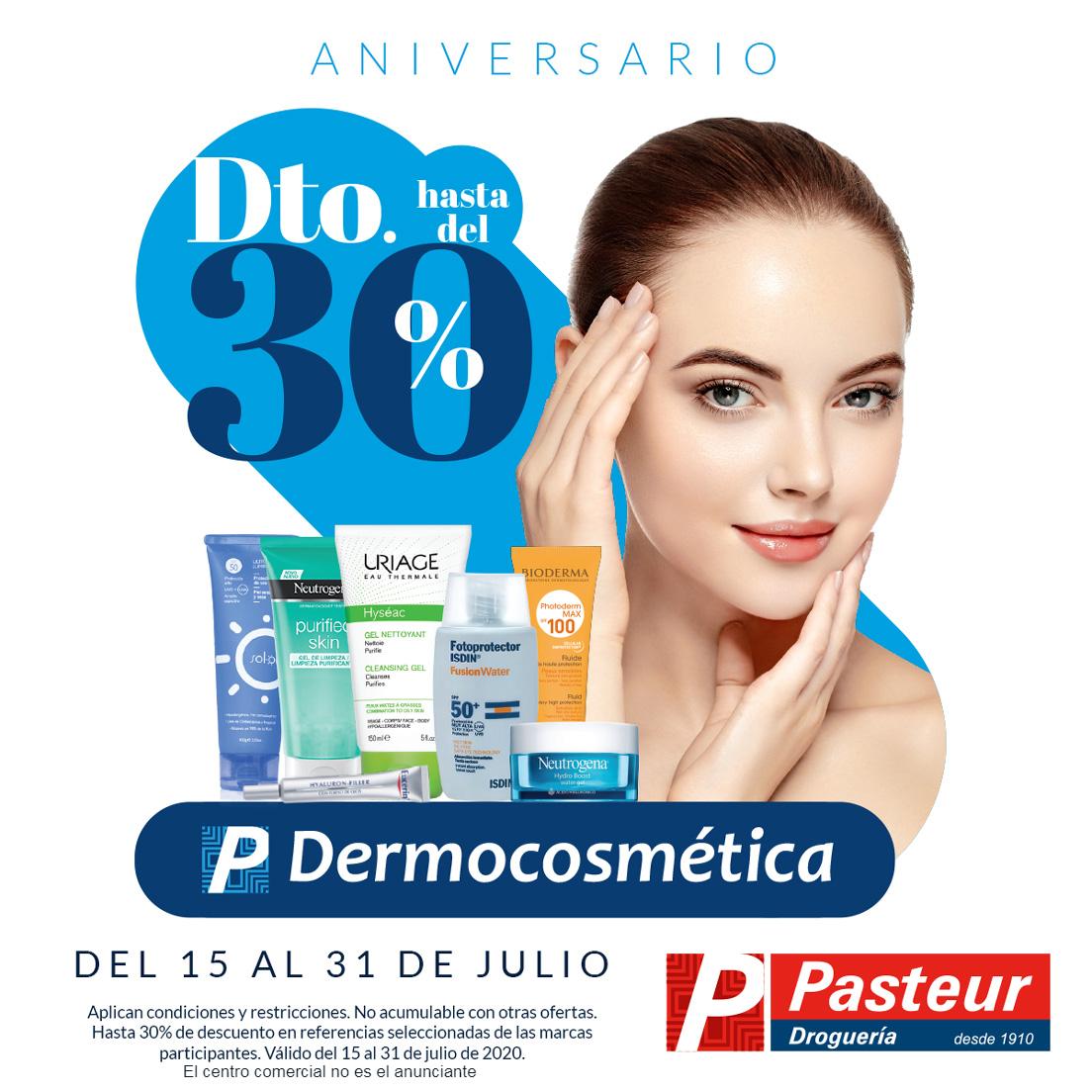 En el aniversario #Dermocosmetica Pasteur ¡Disfruta hasta 30% de descuento! En referencias seleccionadas de tus marcas favoritas para el cuidado de la piel.*Válido del 15 al 31 de julio de 2020.Disponible en tu farmacia más cercana, servicio a domicilio y en página web.