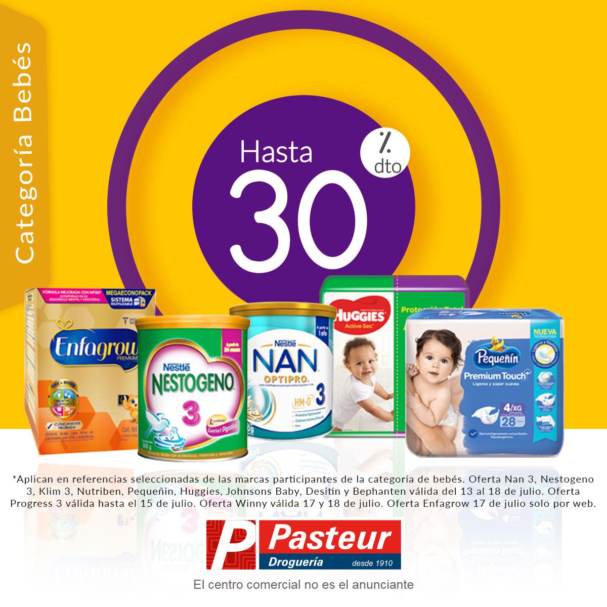 Esta semana en farmacias Pasteur encuentra ofertas imperdibles para el cuidado de tu bebé 👶🤱¡Hasta 30% de descuento! En pañales, fórmulas infantiles etapa 3, pañitos y cremas para bebé.*Válido del 13 al 19 de julio de 2020.